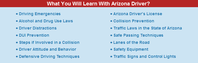Arizona Defensive Driving approved topics